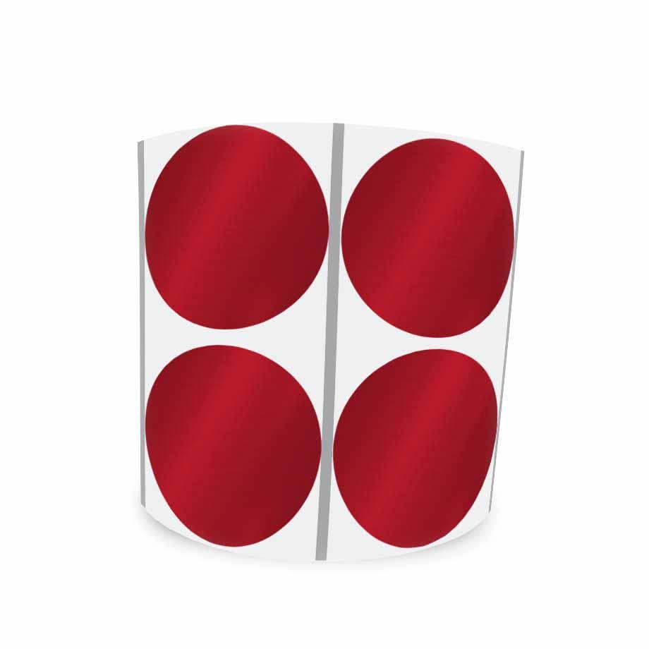 Etiqueta Redonda Metalizada Vermelha 4Cm 2 Colunas Com Tarja - 1000 un