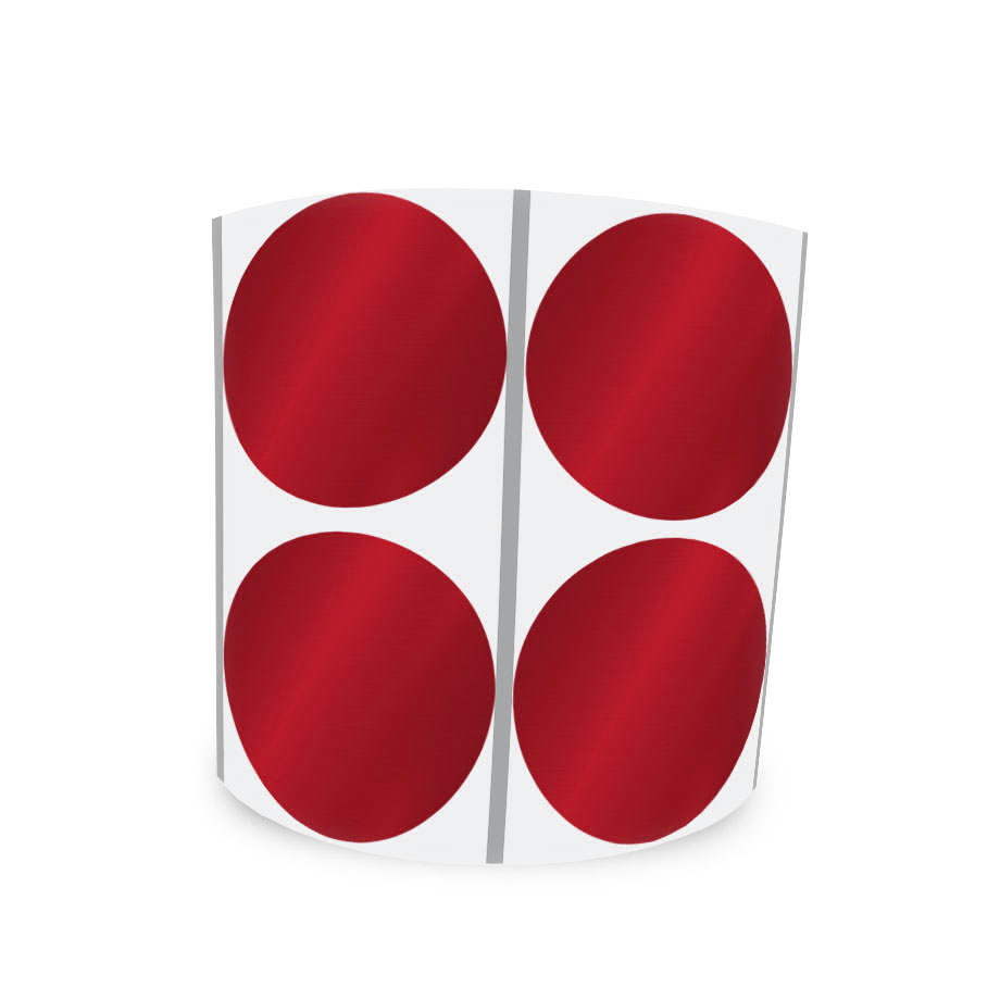 Etiqueta Redonda Vermelha 5Cm 2 Colunas Com Tarja - 1000 un