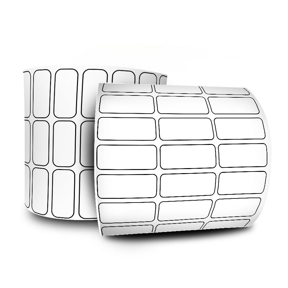 Etiquetas Adesivas 25x10 mm Couchê 3 Colunas com Espaçamento 32 Metros