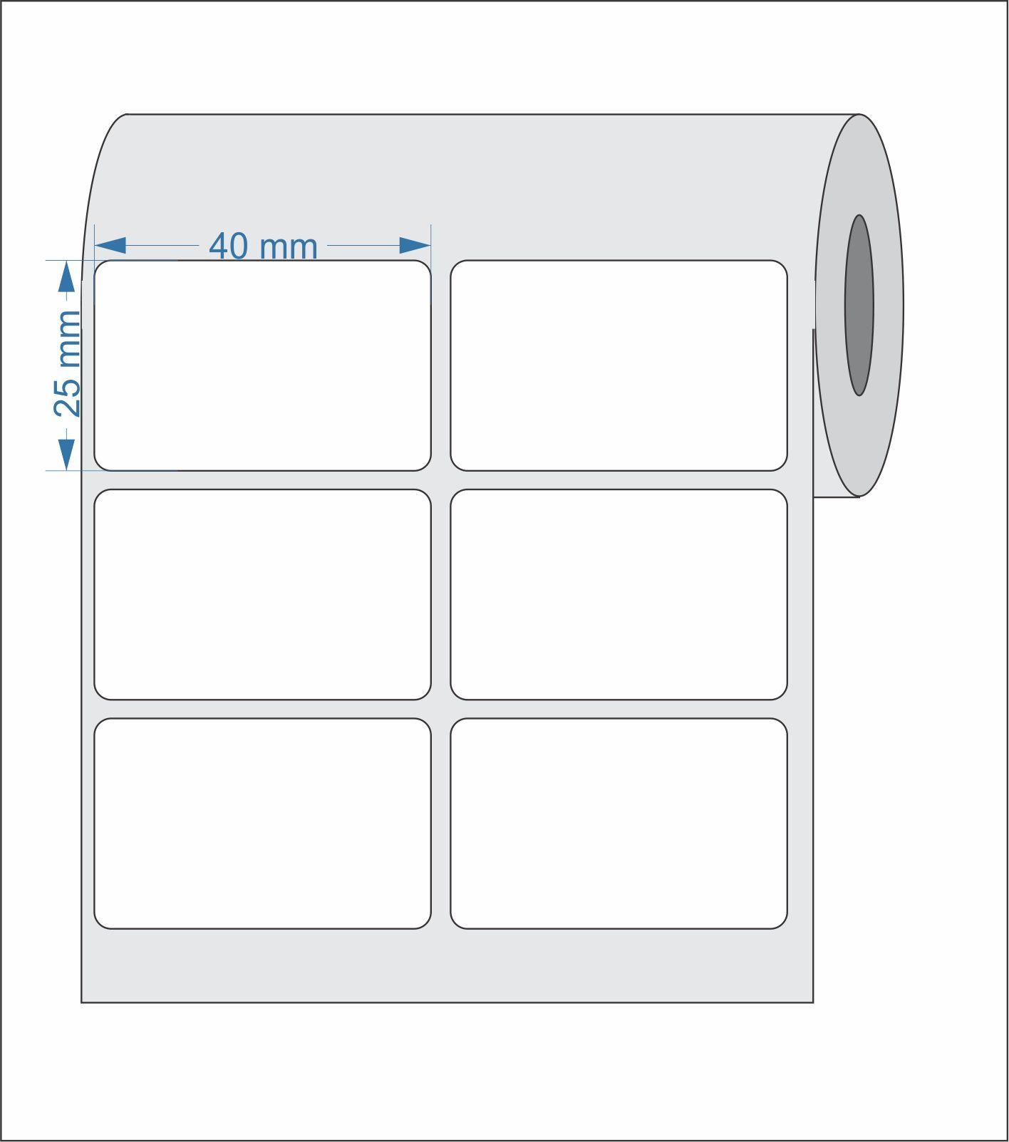 Etiquetas Adesivas 40x25 mm  BOPP 02 Colunas - 5 ROLOS
