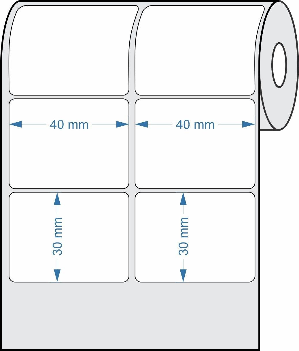 Etiquetas Adesivas 40x30 mm  Couchê 02 Colunas - 15 Rolos