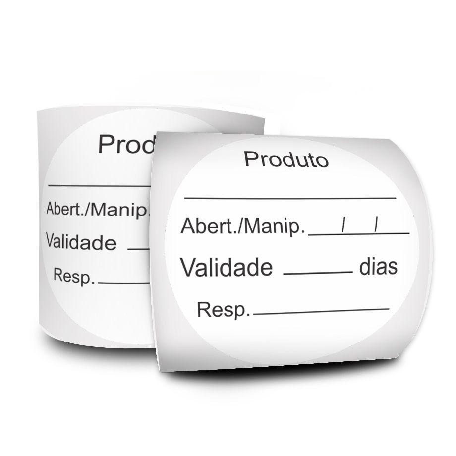 Etiquetas Adesivas BOPP Prazo de Validade 40x40 Mil REDONDA