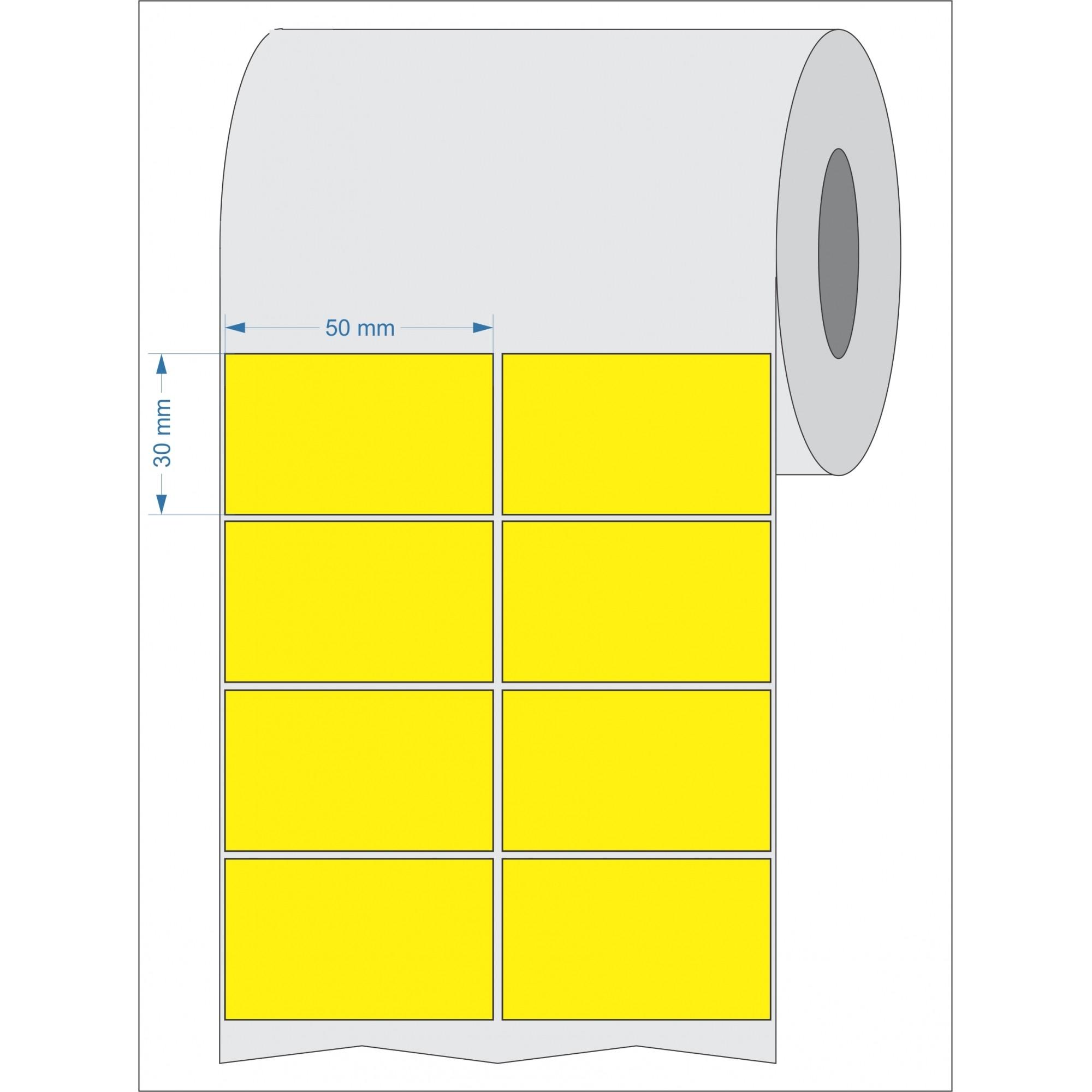 Etiquetas Adesivas 50x30 Mm Couchê 2 Colunas Amarelo 32 Metros