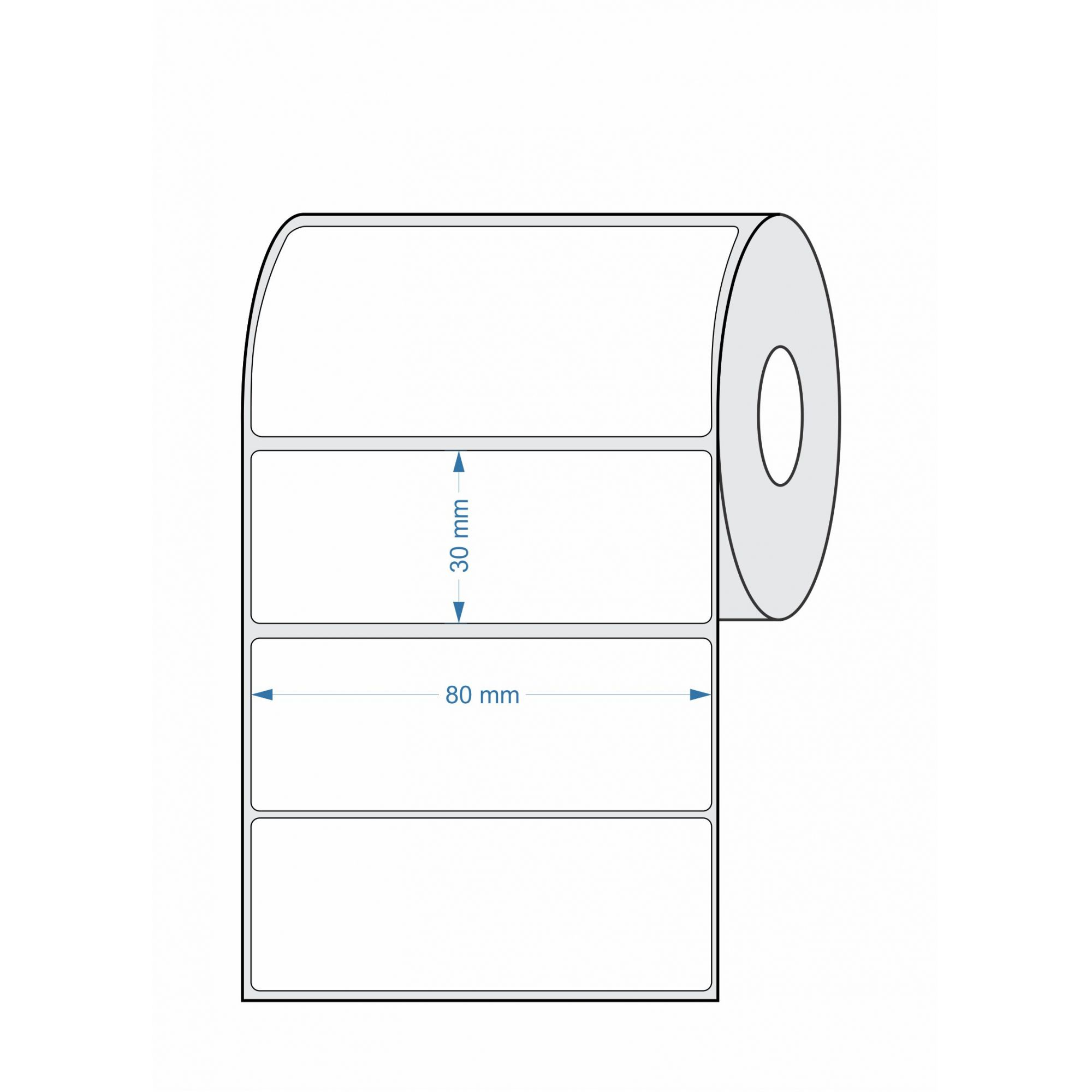 Etiquetas Adesivas 80x30 BOPP 32 Metros - 05 Rolos