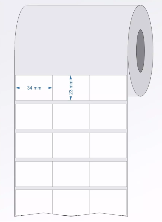 Etiquetas Adesivas Impressas Bopp Fosco Branca 34x23 mm - 2 Rolos