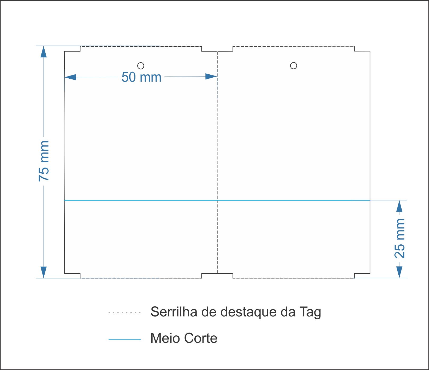 Etiquetas Adesivas Tag 50x75 Mm Couchê COM CANHOTO - 10 Rolos