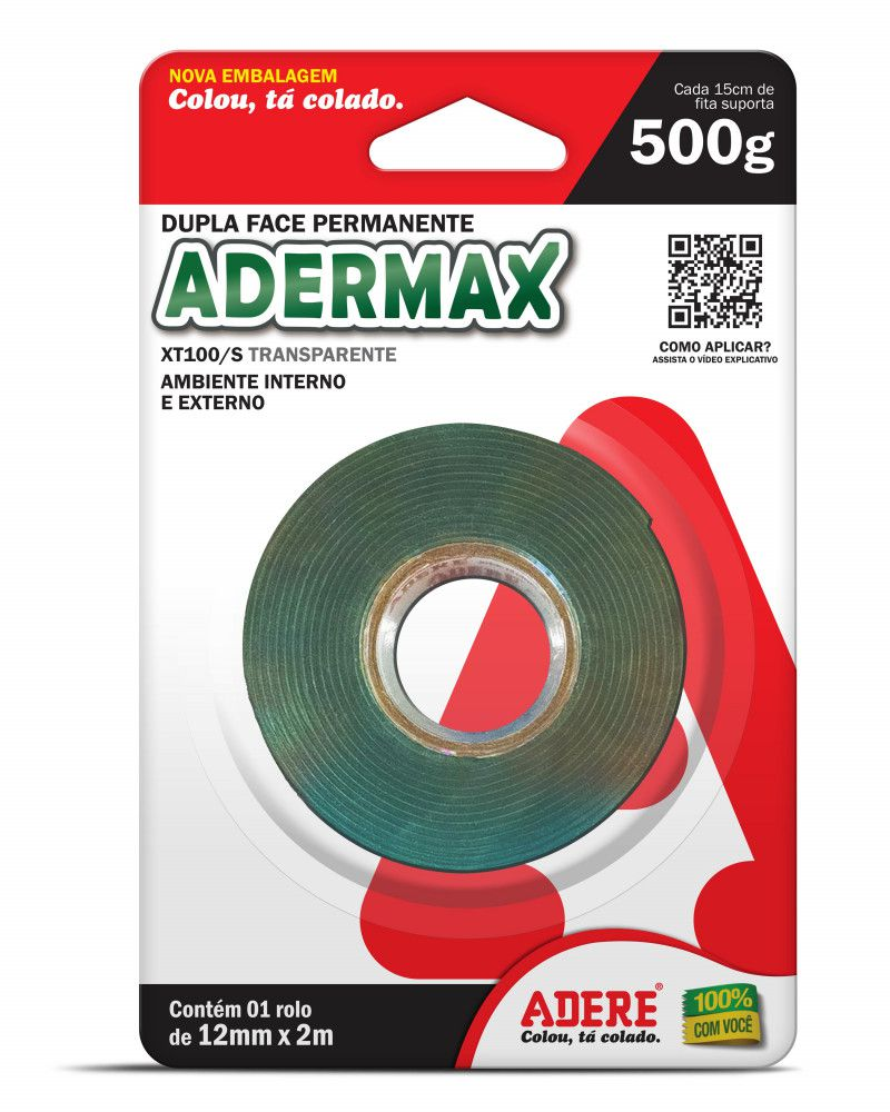 Fita Dupla Face Adere Xt100/s 12 Mm X 2m 500g - 5 Unidades