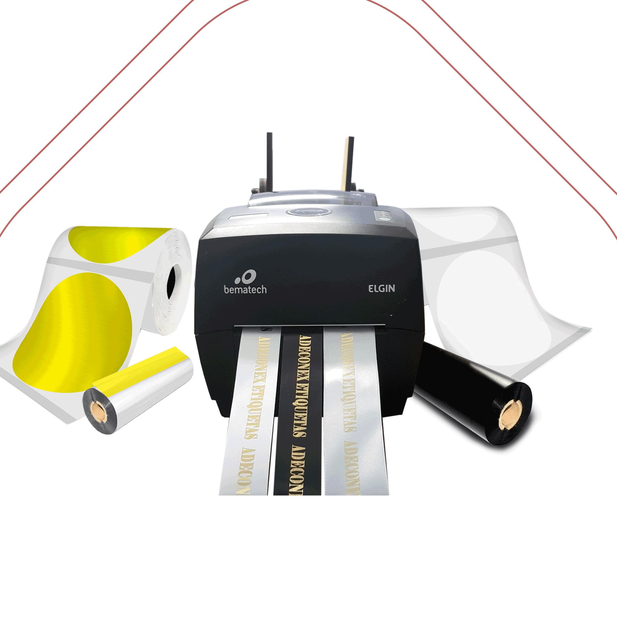 Kit Impressora Elgin L42 PRO + Etiqueta Redonda Transparente e Metalizada