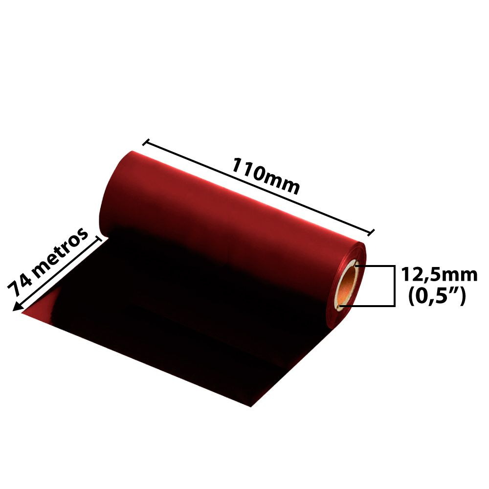 Ribbon 110x74 M  - Misto ( cera/resina) Vermelho