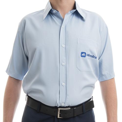 Camisa Social Masculina Manga Curta  - Uniformes Microlins 19e6dbc256fe8