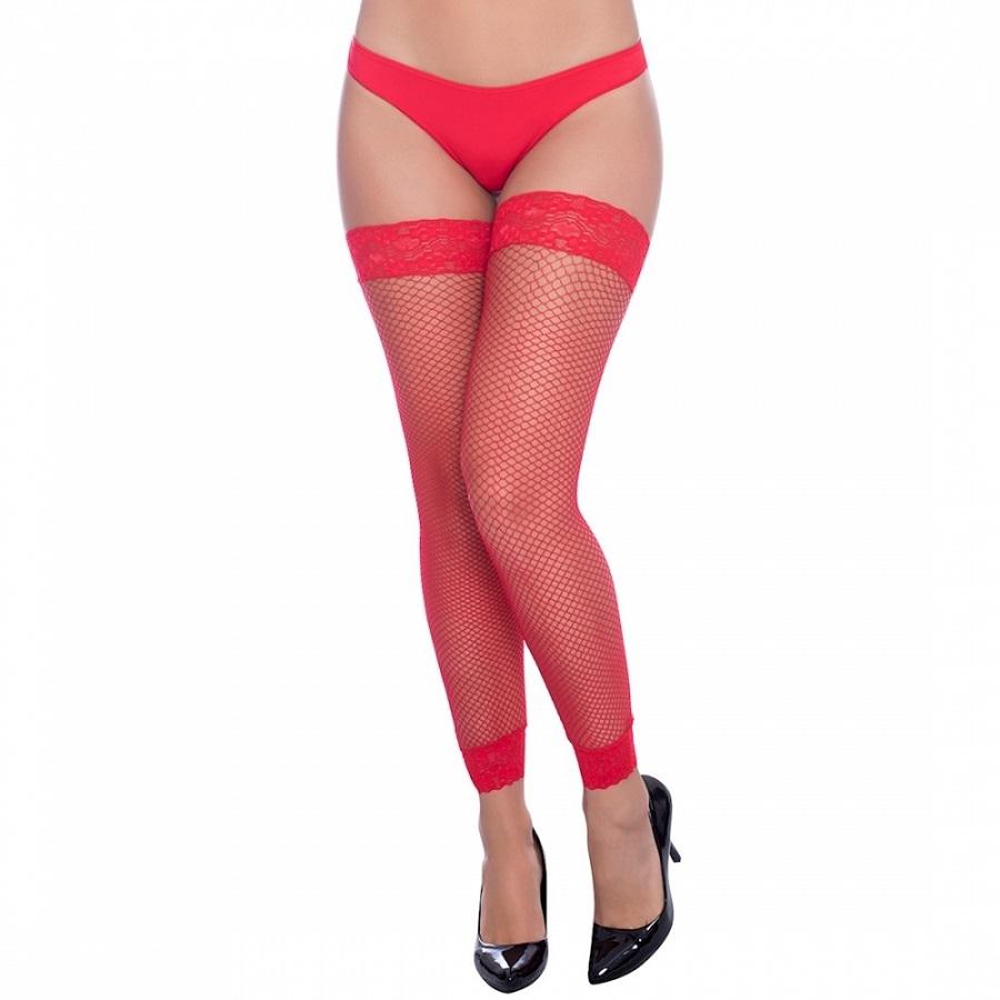 Meia Arrastão 7/8 Legging com Renda - Vermelha