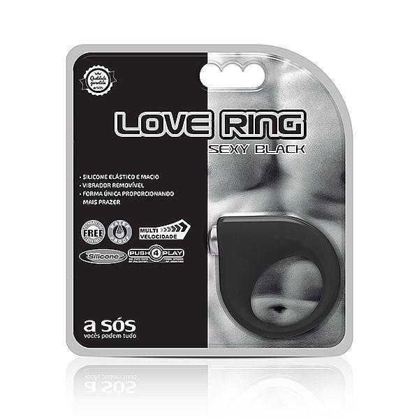 Anel Peniano Vibratório Love Ring Preto 9 Estágios - A Sós