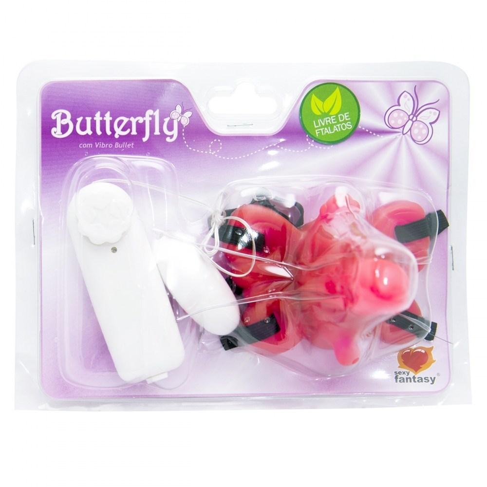 Vibrador Borboleta com Mini Pênis Rosa - Sexy Fantasy
