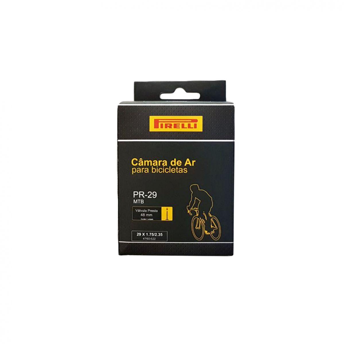 Câmara De Ar para Bicicleta Pirelli Bike MTB Aro 29 Presta Bico Fino 48mm