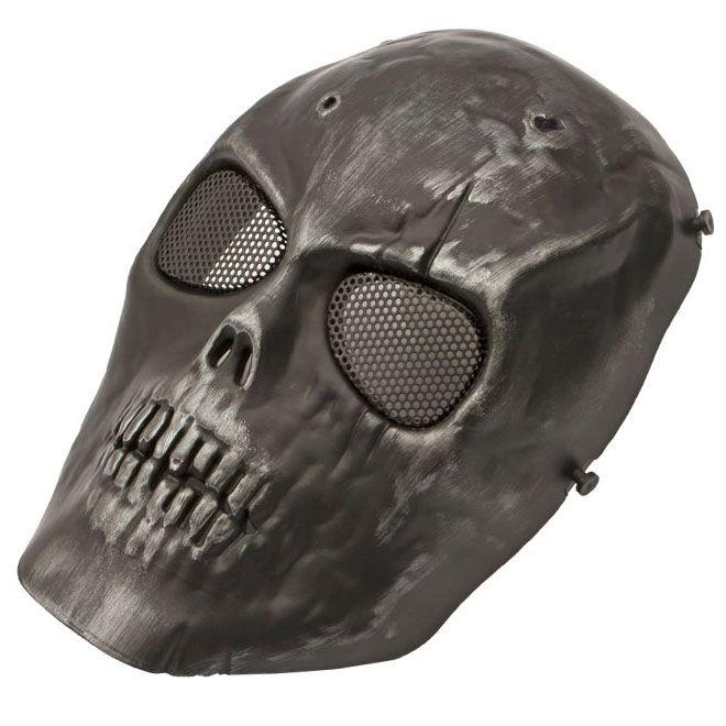 Máscara de Proteção Caveira c/ Tela - Preta Cromo ( Completa )