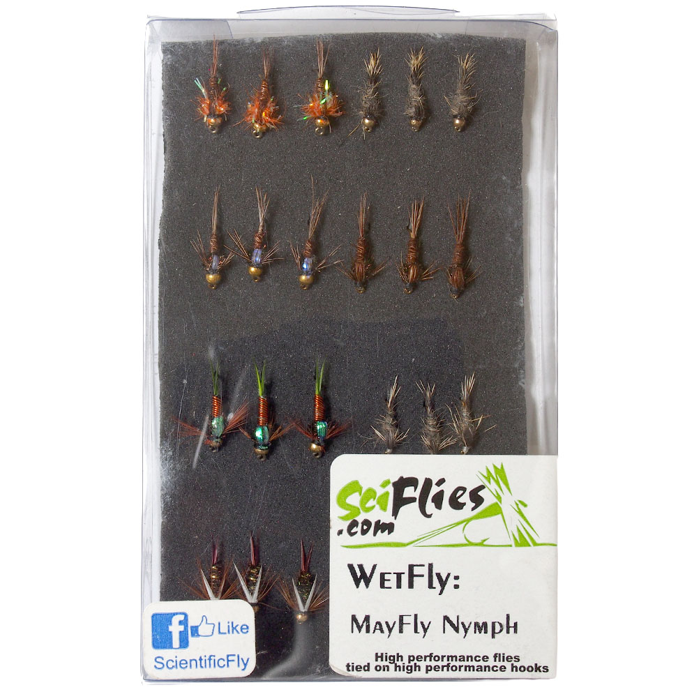 Kit de Moscas Wet Fly Mayfly Nymph SciFlies
