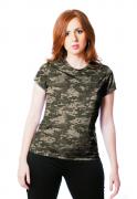 Camiseta Baby Look Camuflada Digital ACU Feminina Manga Curta