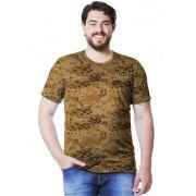 Camiseta Camuflada Digital Deserto Manga Curta Masculina