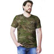 Camiseta Camuflada Multicam Manga Curta Masculina