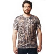 Camiseta Camuflada Palhada Manga Curta Masculina