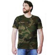 Camiseta Camuflada Woodland Manga Curta Masculina