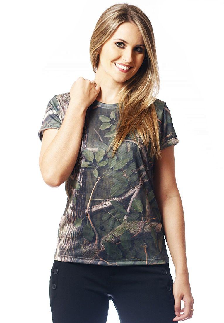 Camiseta Baby Look Camuflada Amazônia Feminina Manga Curta  - REAL HUNTER