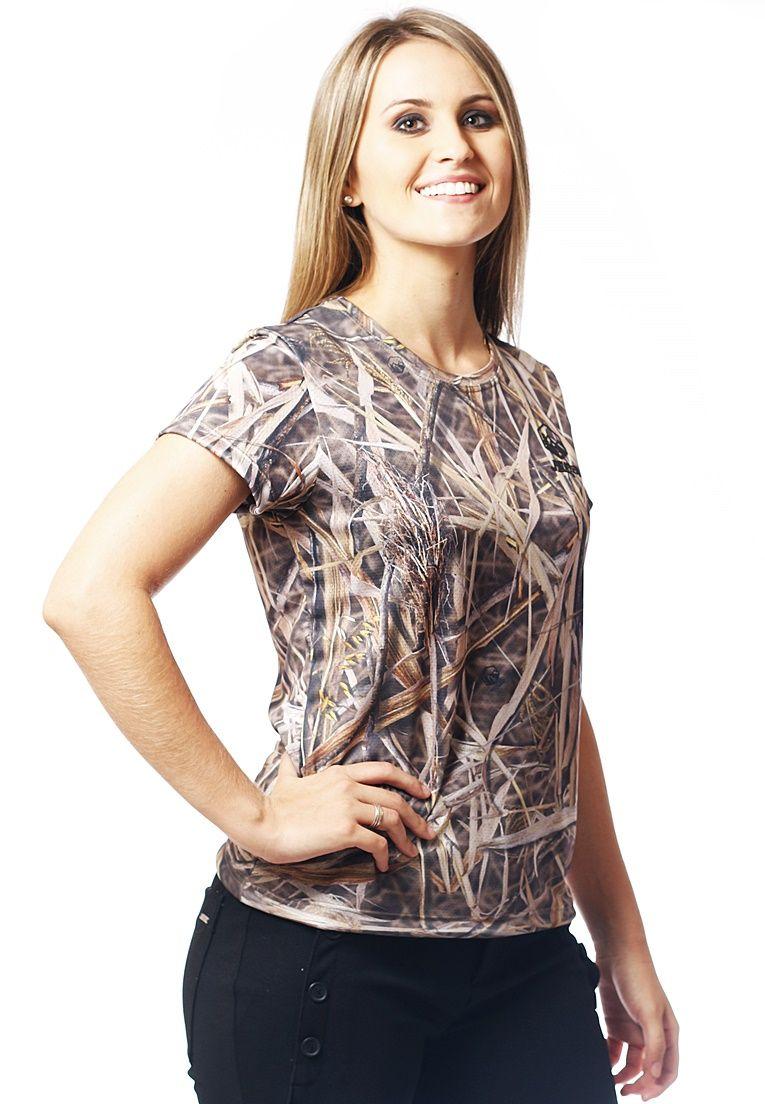 Camiseta Baby Look Camuflada Palhada Feminina Manga Curta  - REAL HUNTER