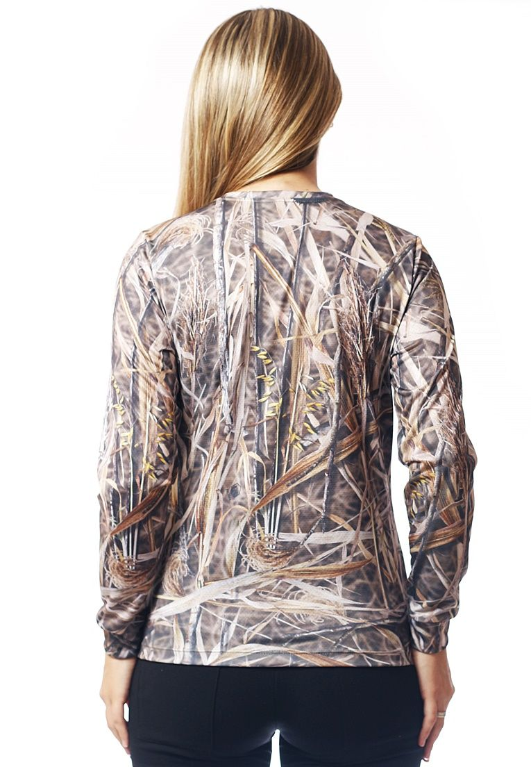 CAMISETA BABY LOOK CAMUFLADA PALHADA MANGA LONGA FEMININA  - REAL HUNTER OUTDOORS