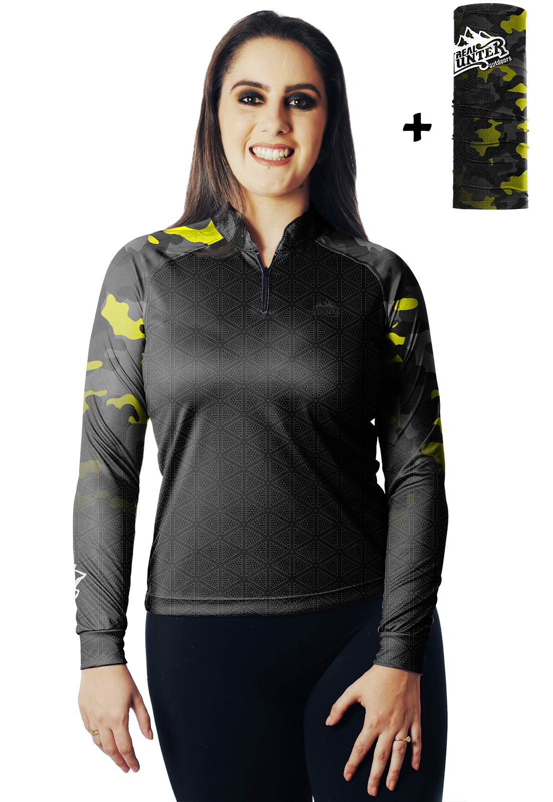 CAMISA DE PESCA FISH CAMUFLADA PRO 15 FEMININA + BANDANA GRÁTIS  - REAL HUNTER OUTDOORS