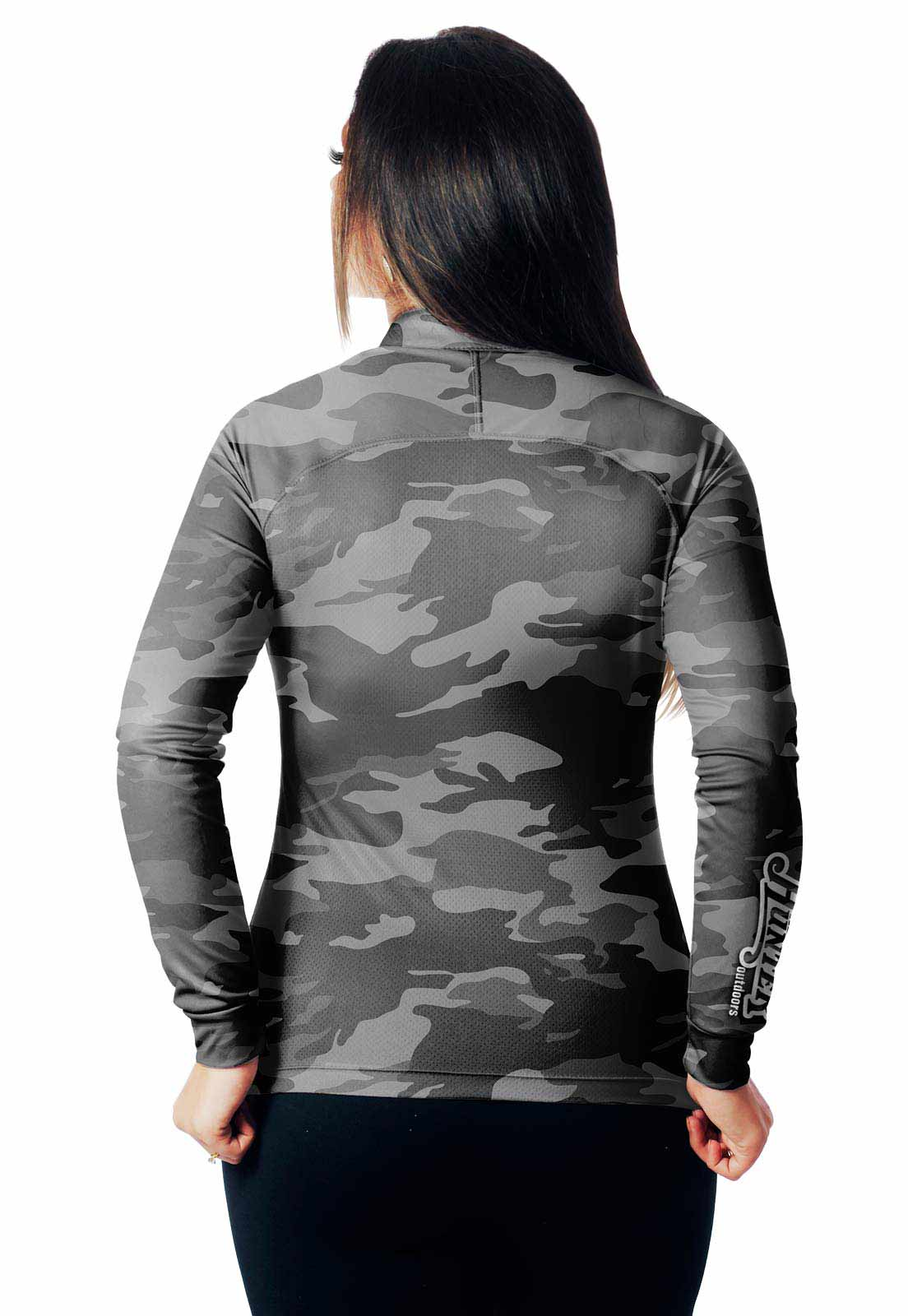 CAMISA DE PESCA FISH CAMUFLADA URBANO BLACK 36 FEMININA + BANDANA GRÁTIS  - REAL HUNTER OUTDOORS