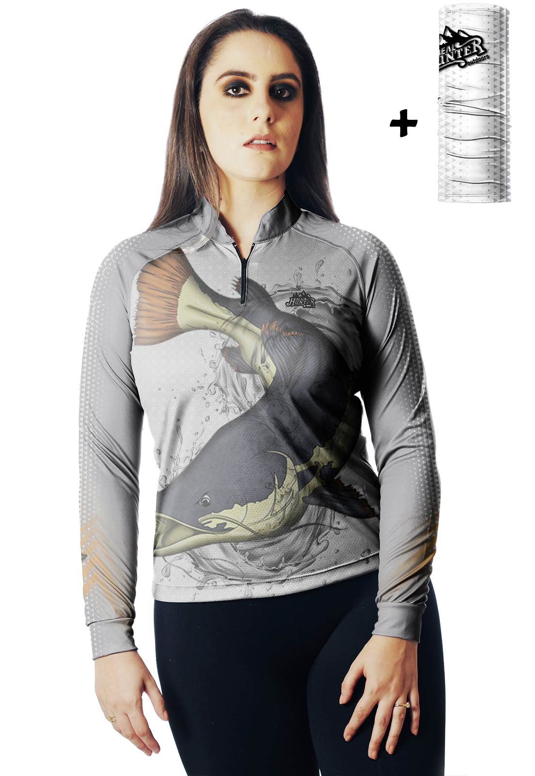 CAMISA DE PESCA FISH PIRARARA 01 FEMININA + BANDANA GRÁTIS  - REAL HUNTER OUTDOORS