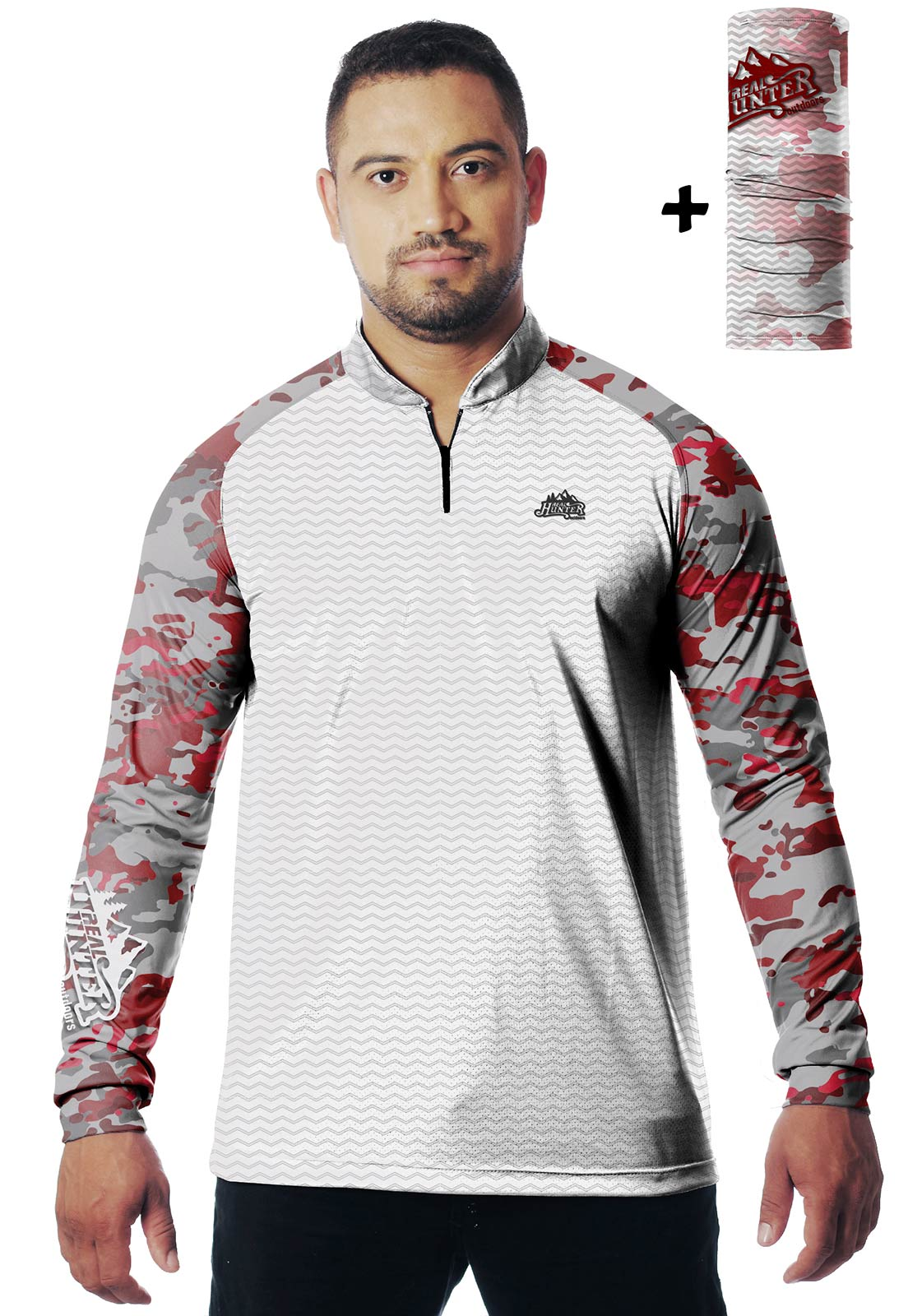CAMISA DE PESCA FISH PRO 16 MASCULINA + BANDANA GRÁTIS  - REAL HUNTER OUTDOORS