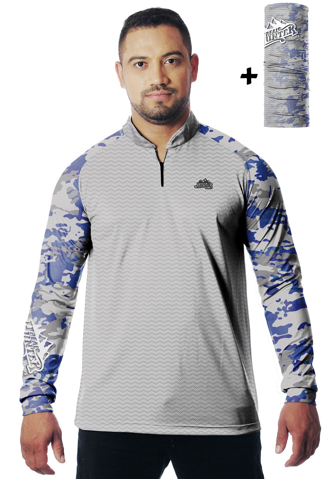 CAMISA DE PESCA FISH PRO 38 MASCULINA + BANDANA GRÁTIS  - REAL HUNTER OUTDOORS
