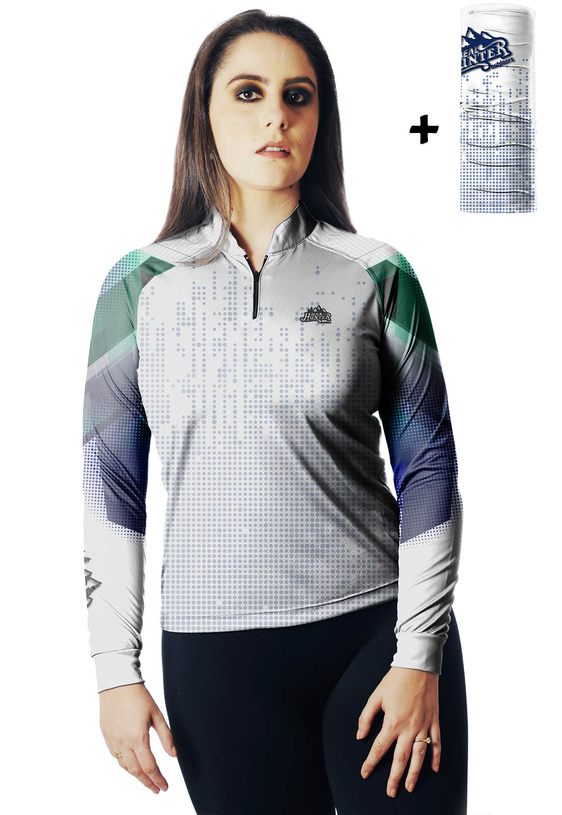 CAMISA DE PESCA FISH TECH PRO 02 FEMININA + BANDANA GRÁTIS  - REAL HUNTER OUTDOORS