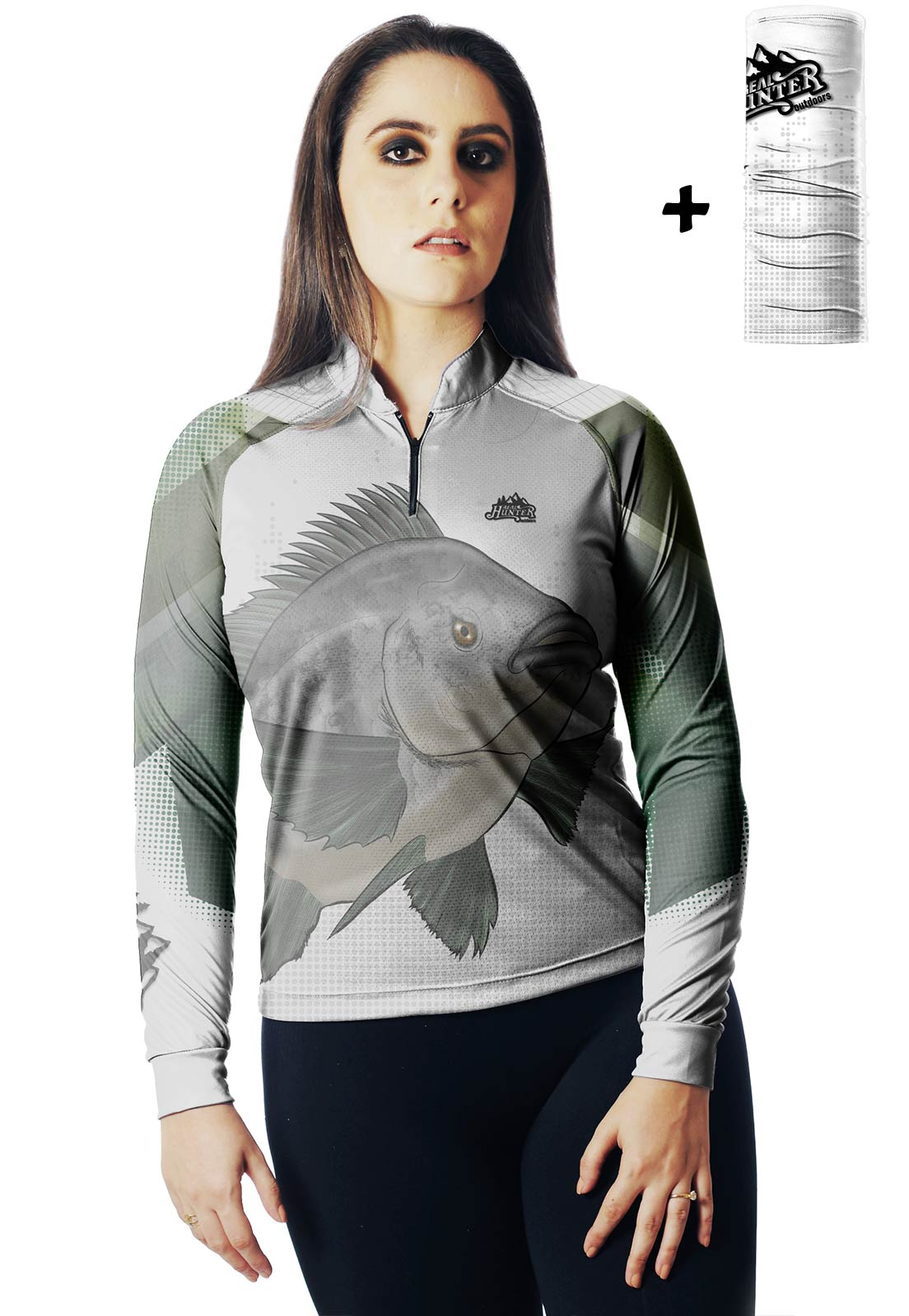 CAMISA DE PESCA FISH TILÁPIA 01 FEMININA + BANDANA GRÁTIS - REAL HUNTER OUTDOORS