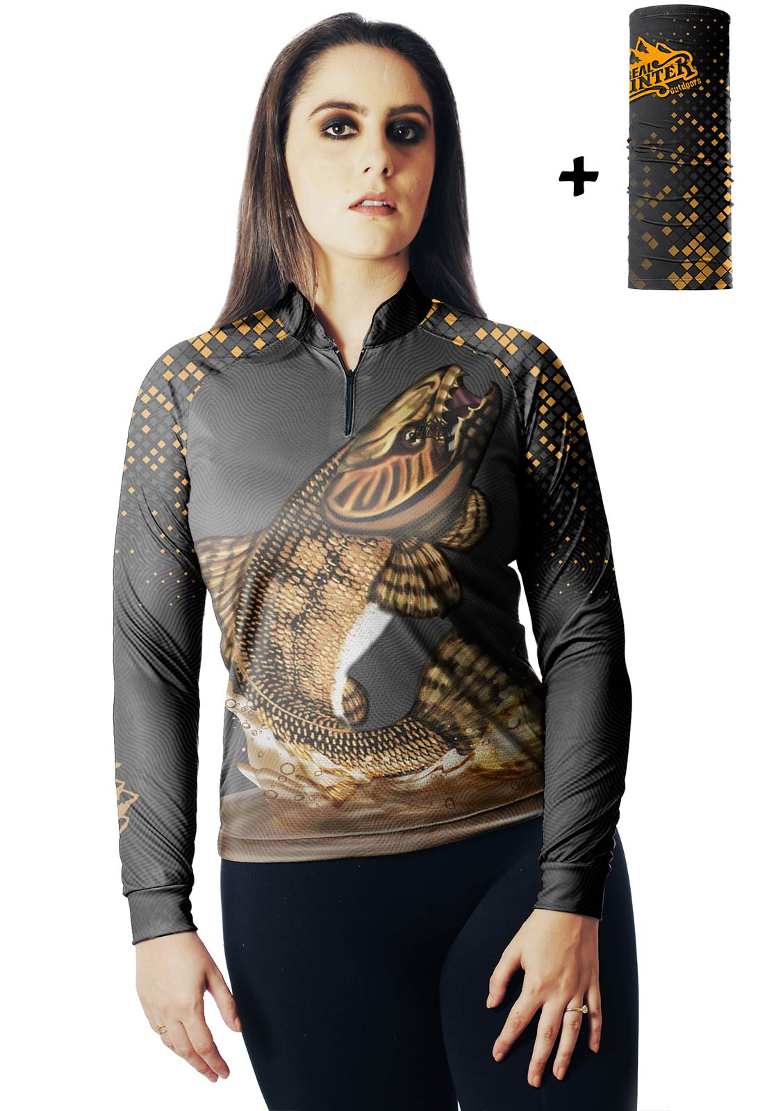CAMISA DE PESCA FISH TRAÍRA 01 FEMININA + BANDANA GRÁTIS - REAL HUNTER OUTDOORS