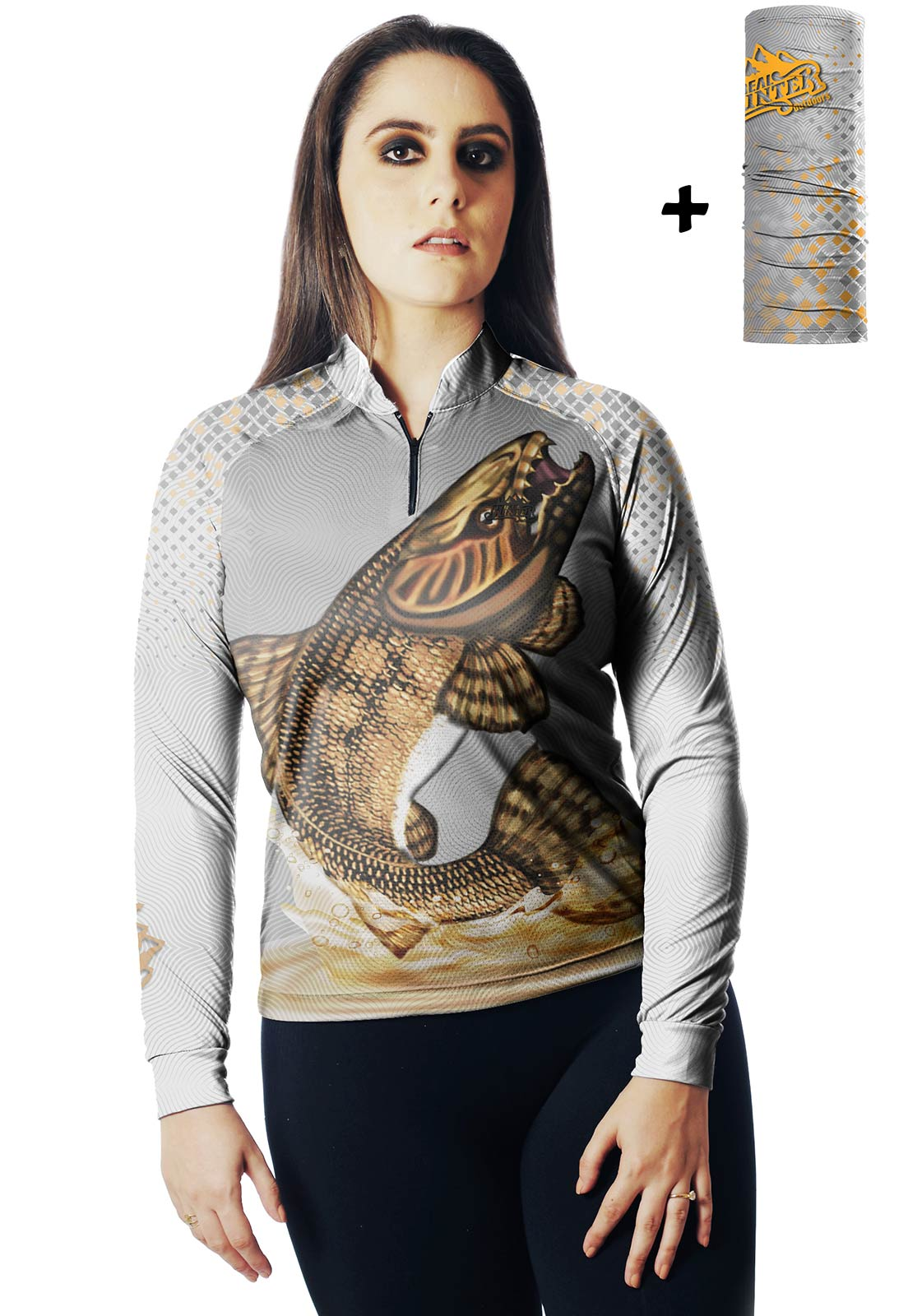 CAMISA DE PESCA FISH TRAÍRA 02 FEMININA + BANDANA GRÁTIS  - REAL HUNTER OUTDOORS