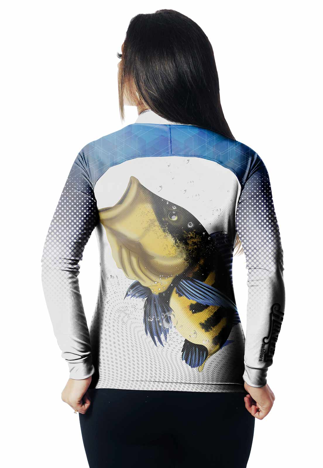 CAMISA DE PESCA FISH TUCUNARÉ 01 FEMININA + BANDANA GRÁTIS  - REAL HUNTER OUTDOORS