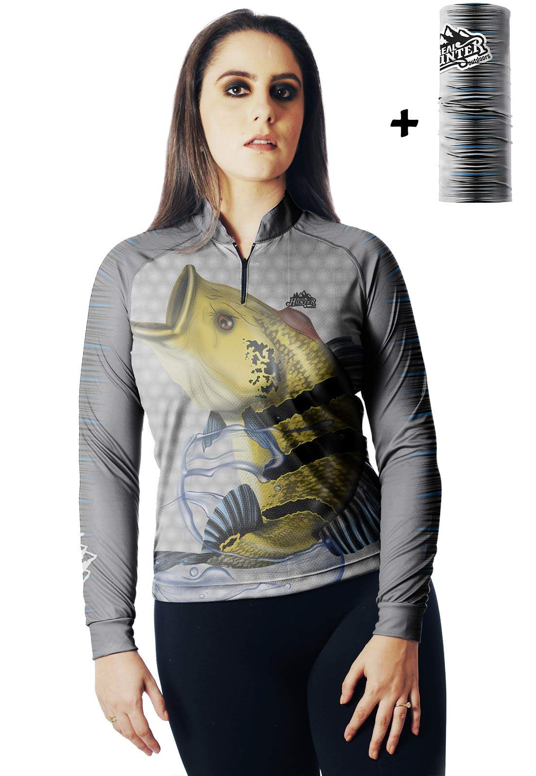 CAMISA DE PESCA FISH TUCUNARÉ 05 FEMININA + BANDANA GRÁTIS  - REAL HUNTER OUTDOORS