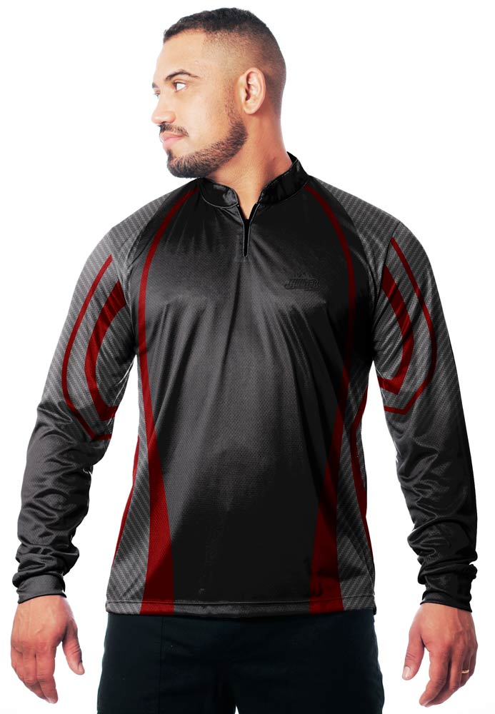 CAMISA DE PESCA MASCULINA BLACK RED TECHNOLOGY  - REAL HUNTER OUTDOORS