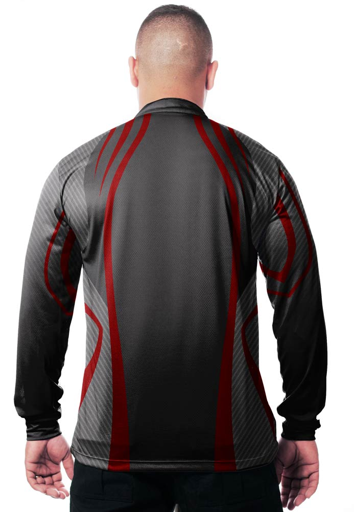 CAMISA DE PESCA MASCULINA BLACK RED TECHNOLOGY