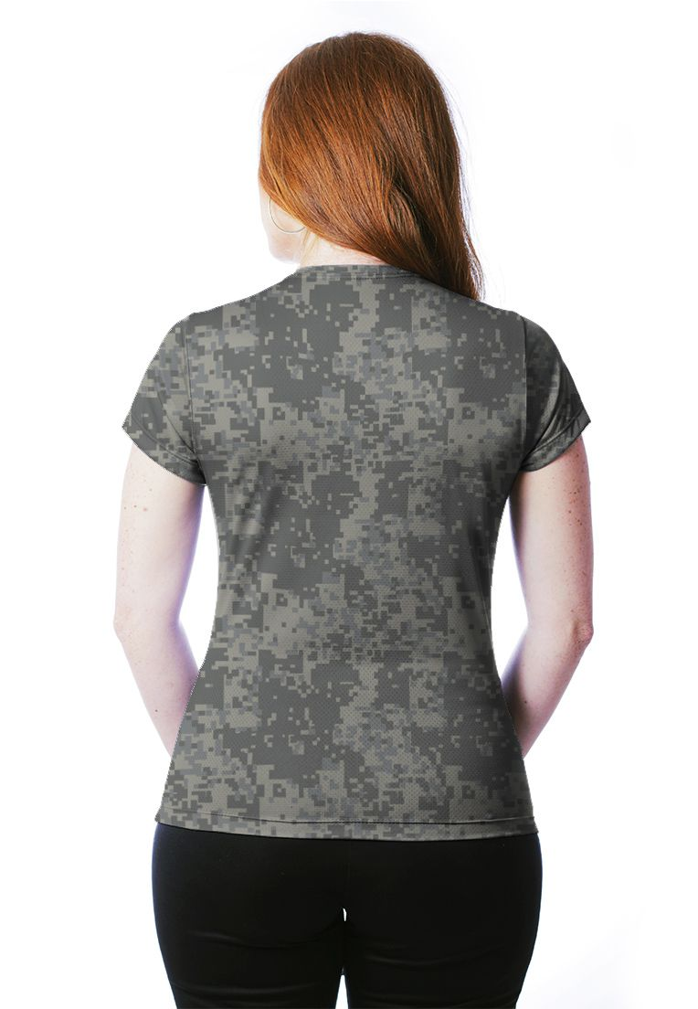 Camiseta Baby Look Camuflada Digital ACU Feminina Manga Curta  - REAL HUNTER