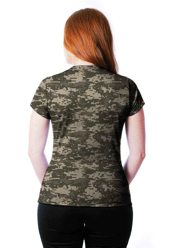 CAMISETA BABY LOOK CAMUFLADA DIGITAL ACU MANGA CURTA FEMININA  - REAL HUNTER OUTDOORS
