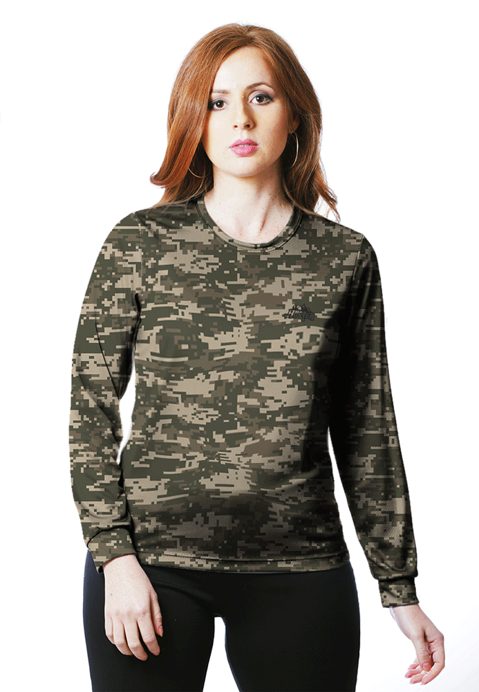 CAMISETA BABY LOOK CAMUFLADA DIGITAL ACU MANGA LONGA FEMININA  - REAL HUNTER OUTDOORS