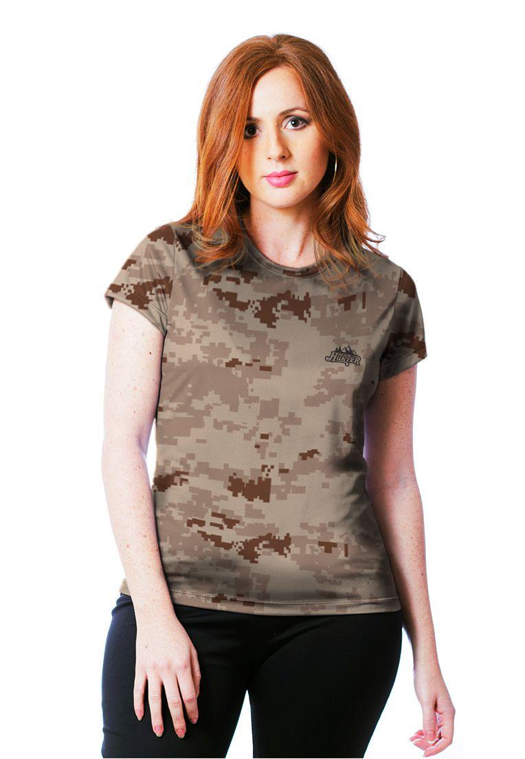 Camiseta Baby Look Camuflada Digital Deserto Feminina Manga Curta  - REAL HUNTER