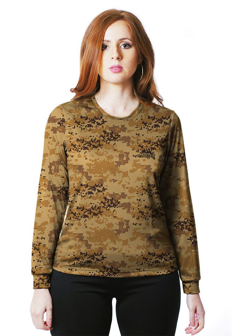 Camiseta Baby Look Camuflada Digital Deserto Feminina Manga Longa  - REAL HUNTER