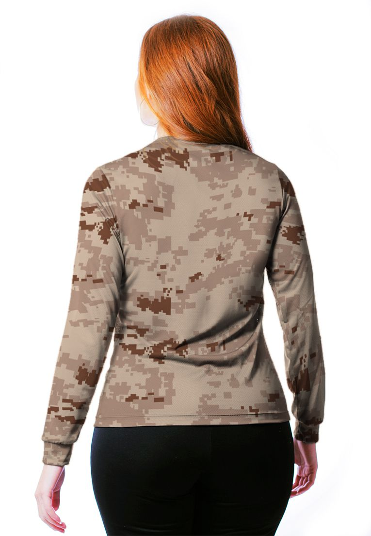 CAMISETA BABY LOOK CAMUFLADA DIGITAL DESERTO MANGA LONGA FEMININA  - REAL HUNTER OUTDOORS
