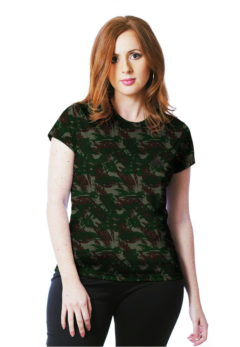 Camiseta Baby Look Camuflada Exército Brasileiro Feminina Manga Curta  - REAL HUNTER