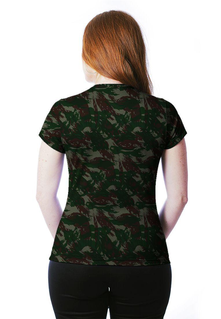 ... Camiseta Baby Look Camuflada Exército Brasileiro Feminina Manga Curta - REAL  HUNTER 0c1e158091c