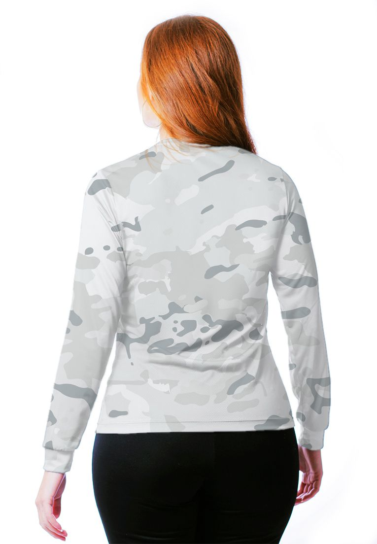 Camiseta Baby Look Camuflada Multicam Alpine Feminina Manga Longa  - REAL HUNTER